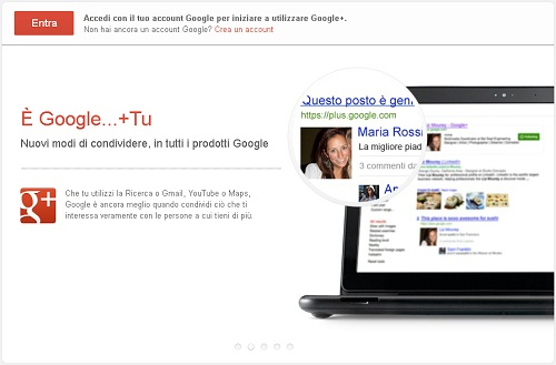 Google+ registrare account personale