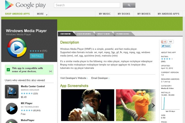 La pagina su Google Play Store del falso Windows Media Player